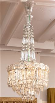 Sale 8804A - Lot 72 - A pair of cut crystal basket chandeliers, Height of drop approx 82cm