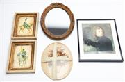 Sale 8873A - Lot 90 - Napoleonic prints, a small gilt oval mirror together with a floral arrangement