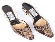 Sale 8910F - Lot 57 - A pair of Emma Hopes embroidered brown velvet slingback heels, made in Italy, size 38