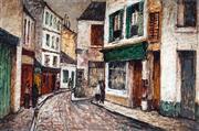 Sale 8958A - Lot 5010 - George Feather Lawrence (1901 - 1981) - Rue Norvins, Montmartre 1955 48.5 x 74 cm (frame: 67 x 91 x 5 cm)
