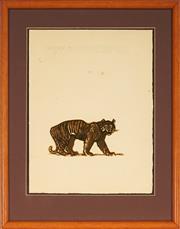 Sale 9019 - Lot 2016 - Artist Unknown - Bengal Tiger 34.5 x 26 cm (frame: 49 x 39 x 3 cm)