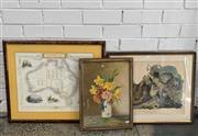 Sale 9072 - Lot 2069 - Group of (3) Decorative Prints: Map of Australia by John Tallis & Co; Buffed Grouse by J Audubon; Still Life M. Streckenbach -