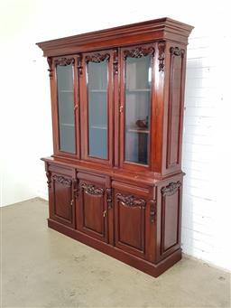 Sale 9157 - Lot 1082 - Large mahogany 2 piece bookcase (h:218 x w:165 x d:50cm)