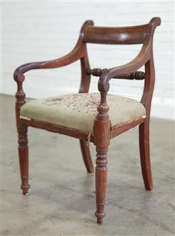 Sale 9196 - Lot 1071 - Possibly Australian Cedar Regency Armchair, with inlaid bar back, rope-twist back rail, with tapestry covered seat & turned legs - s...