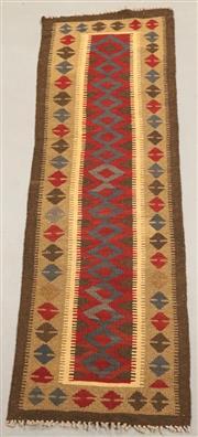 Sale 8438K - Lot 15 - Maimana Afghan Kilim Runner | 215x60cm, Pure Wool, Handwoven in Northern Afghanistan using durable local wool. Traditional slit weav...