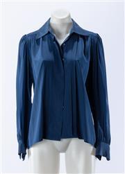 Sale 8910F - Lot 63 - A Saint Laurent, Paris rive gauche blue silk shirt, size 36