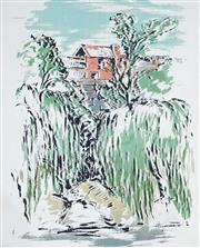 Sale 8958A - Lot 5050 - Alan Sumner (1911 - 1994) - Old Asylum Wall from Studley Park 1945 35 x 28 cm (frame: 63 x 55 x 3 cm)