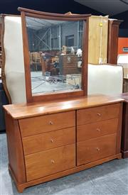 Sale 8971 - Lot 1053 - A Pine Effect Mirrored Back Dresser with Six Drawers (H:175 x W:135 x D:49cm)