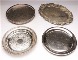 Sale 9104 - Lot 57 - A group of EPNS serving trays to include silver on copper example L24-35cm