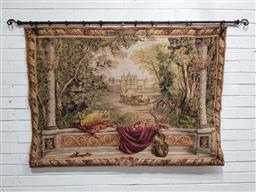 Sale 9142 - Lot 1053 - French Style Landscape Tapestry, of Chateau Chambord, by Adorabella, with metal rod (h:100 x w:140cm)