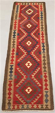Sale 8438K - Lot 16 - Maimana Afghan Kilim Runner | 305x87cm, Pure Wool, Handwoven in Northern Afghanistan using durable local wool. Traditional slit weav...