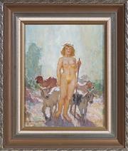 Sale 8486A - Lot 13 - Norman Lindsay - Shepherdess 29 x 23cm