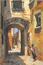 Sale 8642 - Lot 509 - Pamela Thalben-Ball (1927 - 2010) - Sunlit Gateway, Gerona Spain 53 x 35cm