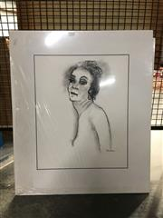 Sale 8730 - Lot 2087 - Group of (6) charcoal Portait & Nude Studies by Val Landa (mounted/unframed)