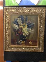 Sale 8767 - Lot 2002 - Artist Unknown - Floral Still Life, oil on canvas on board, 64 x 59cm (frame size), signed lower right