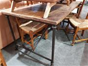 Sale 8934 - Lot 1064 - Industrial Style Dining Table over Metal Base & Castors