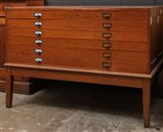 Sale 8994H - Lot 52 - Six drawer oak plan filer, metal plaque reads Bureau of Mineral Resource H x 104, W: 146 x D: 92cm Internal measurements of drawer...