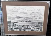 Sale 9058 - Lot 2008 - Cedric Emanuel (1906-95) - Convict Settlement Norfolk Island 36 x 50 cm (frame: 48 x 62 x 2)