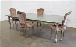 Sale 9154 - Lot 1027 - French style extension table with 4 upholstered chairs (h:75 x l:215 / 278 x w:122cm)