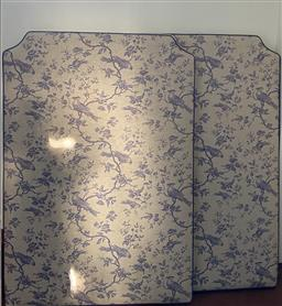 Sale 9200P - Lot 18 - A pair of fine Toile Du Jouy Twin single bedheads made by Cameron Kimber Design, Height 135cm x Width 93cm x Depth 6cm, in very good...
