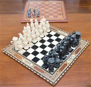 Sale 8346A - Lot 93 - Two chess sets and boards including a lovely Anglo Indian board