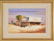 Sale 8339A - Lot 552 - Colin Parker (1941 - ) - Bottle Trees and Morning Shopping, Mitchell, Queensland 39.5 x 60cm