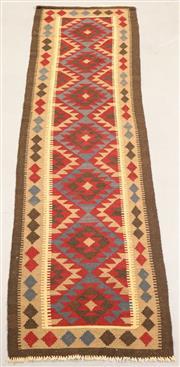 Sale 8438K - Lot 17 - Maimana Tribal Kilim Runner | 304x80cm, Pure Wool, Handwoven in Northern Afghanistan using durable local wool. Traditional slit weav...