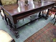 Sale 8634 - Lot 1060 - Large 19th Century Cedar Side Table, fitted with two frieze drawers, on turned spiral columns joined by a stretcher