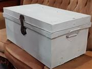 Sale 8769 - Lot 1087 - White Painted Metal Lift Top Trunk
