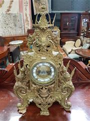 Sale 8831 - Lot 1028 - Antique French Gilt Metal Mantel Clock