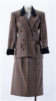 Sale 8910F - Lot 41 - A vintage Saint Laurent, Paris rive gauche double breasted plaid jacket with velvet trim, together with a matching skirt, each siz...