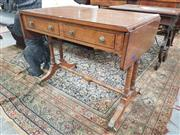 Sale 8917 - Lot 1055 - Regency Style Birdseye Maple Sofa Table, with ebonised inlays, drop-leaves, two short drawers & on turned supports with stretchers
