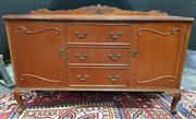 Sale 8971 - Lot 1041 - Carved Back Timber Sideboard with two door & three drawers on short carved cabriole legs (H:100 x W:153 x D:50cm)