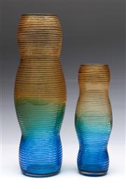 Sale 9090 - Lot 99 - Duo of Shafaq Malik Ahmed style three colour wheel cut vases (H35cm)