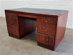 Sale 9108 - Lot 1094 - Art deco leather top twin pedestal desk (h:74 x w:137 x d:83cm)