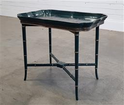 Sale 9196 - Lot 1030 - Green Chinoiserie Tray Table on Stand, the removable lobed top with raised enamel design of birds amongst flowers, on a turned stand...