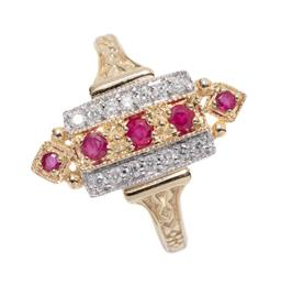Sale 9213 - Lot 345 - AN EDWARDIAN STYLE RUBY AND DIAMOND RING; 18 x 8mm geometric mount set with round cut rubies, and round brilliant cut diamonds on de...