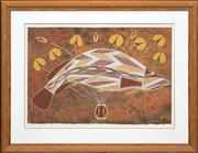 Sale 8288A - Lot 92 - Roderick Maralngurra (1971 - ) - Barramunidi and Water Lily 60.5 x 40.5cm