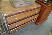 Sale 8383 - Lot 1436 - Rustic Timber Chest of Three Drawers