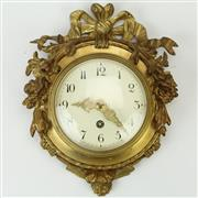 Sale 8399A - Lot 30 - Swiss Gilt Miniature Wall Clock
