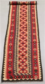 Sale 8438K - Lot 18 - Maimana Afghan Kilim Runner | 387x82cm, Pure Wool, Handwoven in Northern Afghanistan using durable local wool. Traditional slit weav...