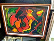 Sale 8659 - Lot 2044 - Patricia Graham-Kelk - Animated Ceramics, oil on board, 37 x 50cm, signed lower right