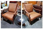 Sale 8765 - Lot 1017 - Pair of Vintage Teak Framed Armchairs with Leather Cushions