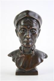 Sale 8840S - Lot 627 - A Small Bronze Bust of A Chinese Lady (H 10cm)