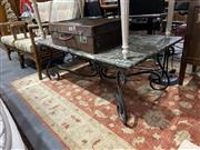 Sale 8876 - Lot 1072 - Marble Outdoor Table with Metal Base