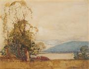 Sale 8929 - Lot 546 - Sydney Long (1871 - 1955) - Cattle Grazing and Harbour Views, 1919 22 x 28.5 cm