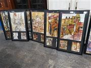 Sale 8945 - Lot 2091 - Set of (6) mixed media works on paper of European Street Scenes by Ebony Bizys (aka HelloSandwich) (frames: 107 x 65cm, each)