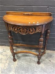 Sale 9006 - Lot 1070 - Carved Timber Demilune Hall Table (h:76 x w:76 x d:40cm)