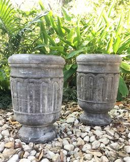 Sale 9175G - Lot 82 - Pair Carved Genuine Stone Urn/Planter .Appears to have crack line or previous repair to base on One Base Of Urn.Drainage Hole at Sid...