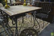 Sale 8289 - Lot 1020 - Metal Framed Garden Setting incl. Four Chairs and Tiled Top Table